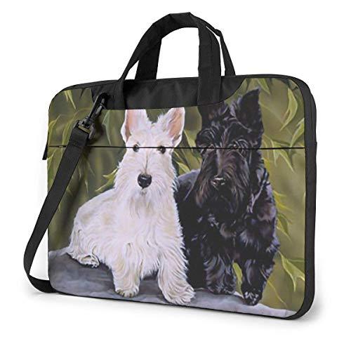 XCNGG Maletín para portátil a Prueba de Golpes Perro Terrier escocés Blanco y Negro Funda Duradera Cojín Funda Protectora Maletín para portátil