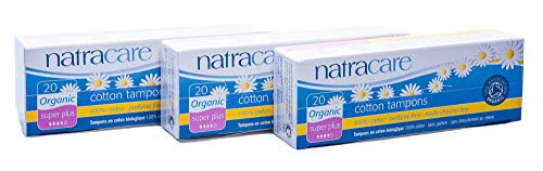 Natracare Tampons Super Plus, 3er Pack (3 x 20 Tampons)