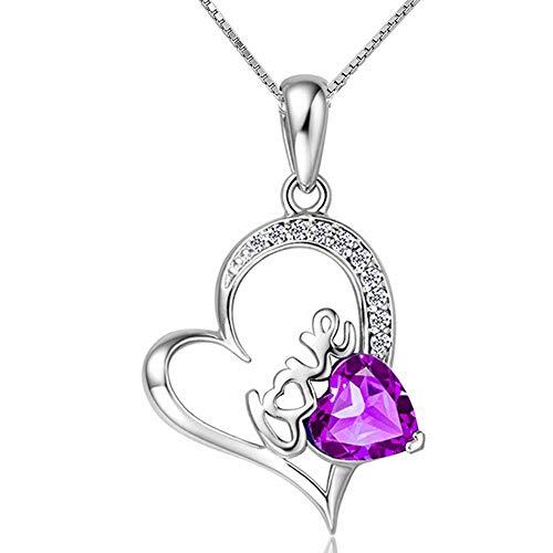 MiniJewelry - Collar de Plata de Ley con Colgante de corazón con Letra de Amor para Mujer