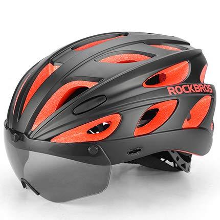 Casco Bicicleta YDHWWSH Gafas Cascos De Bicicleta Moldeado Integralmente Ultralight Magnético MTB...