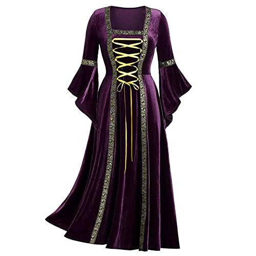 Mymyguoe Mittelalter Kleidung Prinzessin Kleid Abendkleider Lang Vintage 80er Jahre Kleider Langarm Halloween Kostüm Gothic Kleidung Damen Einfarbig