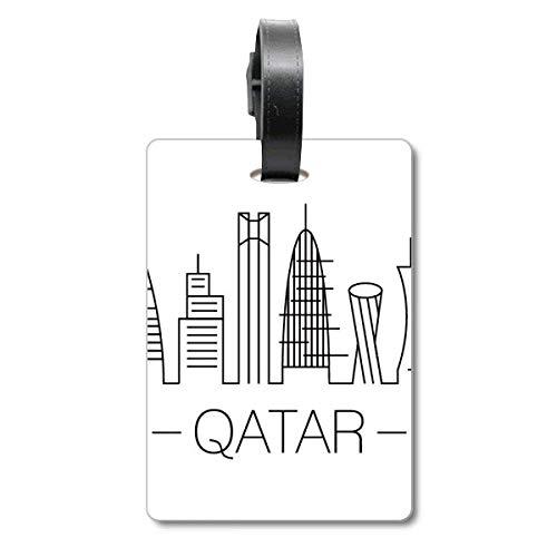 Drawing City - Etiqueta de identificación para Maleta, diseño de Bandera de Catar
