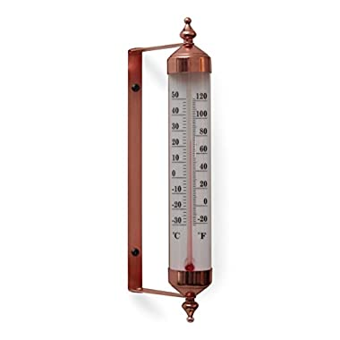 Copper Finish Adjustable Angle 10 Inch Garden Thermometer