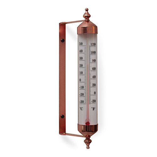 Bjerg Instruments Copper Finish Adjustable Angle 10 Inch Garden Thermometer