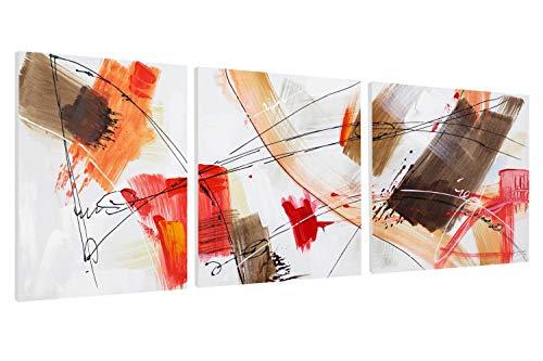 Kunstloft® Cuadro en acrílico 'Triple in Red' 150x50cm | Original Pintura XXL Pintado a Mano sobre Lienzo | Abstracto Rojo Tríptico Multicolor | Cuadro acrílico de Arte Moderno con Marco