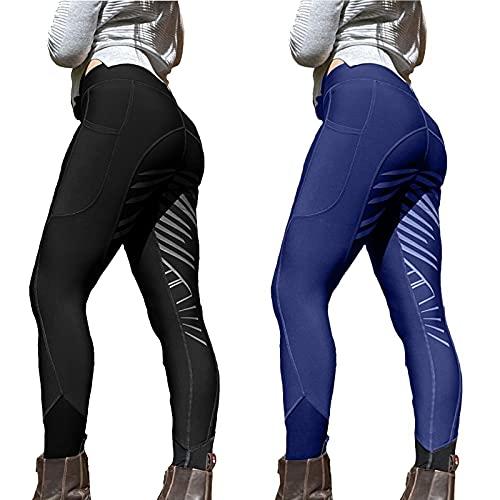 WANGSHE Reithose für Damen, Skinny-Hose, sexy, Hüftlifting, Bauchkontrolle, schmale, lange Hose, für Workout, Laufen, Leggings, weiche Stretch-Baumwolle, Spandex, Schwarz , S