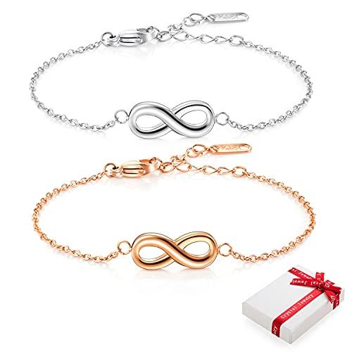 2 tobilleras con símbolo del infinito, para mujer, plateado/oro rosa, para la amistad, de acero inoxidable, para la amistad, regalo de cumpleaños para mujeres y niñas, en caja de regalo