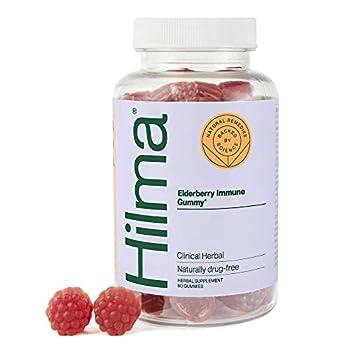 Hilma Elderberry Gummies with Zinc & Vitamin C - Natural Vegan + Clinically Proven Ingredients - Immune Support + Antioxidants - Natural Berry Flavor  60 Gummies