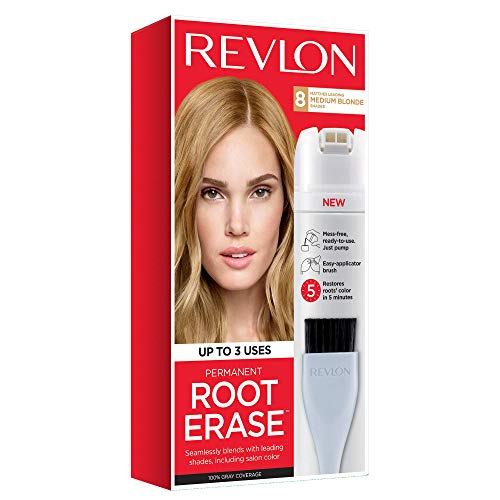 Revlon Root Erase Permanent Hair Color, At-Home Root Touchup Hair Dye with Applicator Brush for Multiple Use, 100% Gray Coverage, Medium Blonde (8), 3.2 oz