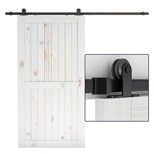 """SMARTSTANDARD 8 Feet Top Mount Sturdy Sliding Barn Hardware Kit - Smoothly and Quietly - Simple and Easy to Install - Includes Step-by-Step Instruction - Fit 42""""-48'' Wide Door Panel (T Shape)"""