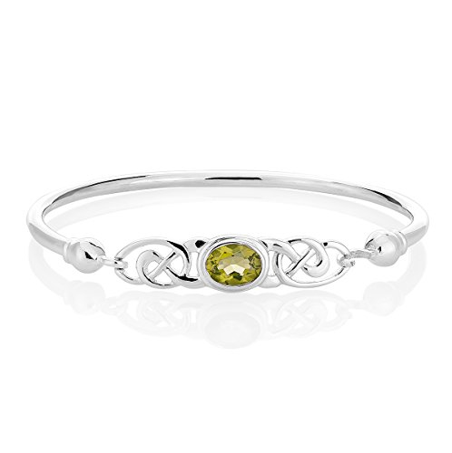 DTPsilver -Damen Armreif/Armbänder 925 Sterling Silber - Keltische Dreifaltigkeitsknoten - keltischen Kollektion - Peridot
