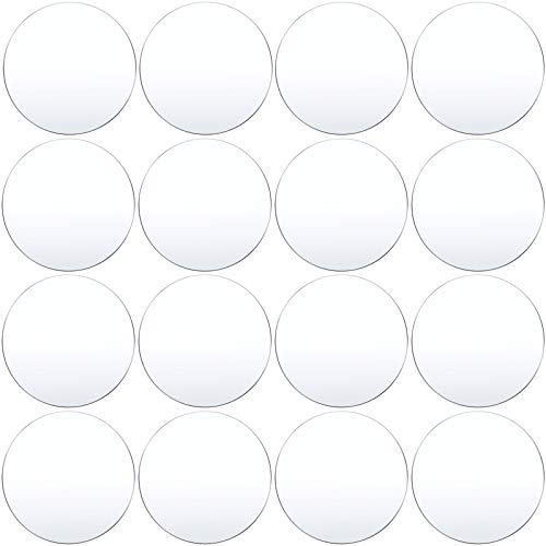 16 Pieces Clear Acrylic Sheet 0.08 Inch Thick Acrylic Plastic Disc Transparent Round Acrylic Panel Circle Acrylic Sheets Sign for Picture Frame Painting DIY Crafts (2 Inch)