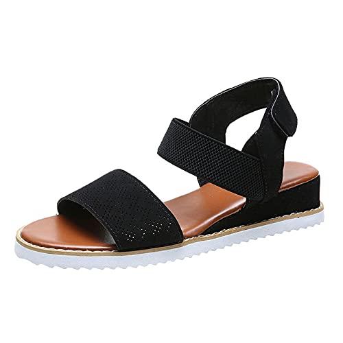WAOUY Sandalias para mujer con tacón de pendiente, zapatos de playa bohemios de 3 cm, adecuados para vacaciones de ocio (color negro, tamaño: 41 EU)