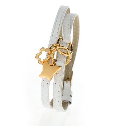 Damen Charms-Lederarmband Weiss dreifach gewickelt - Schmetterling und Blume aus Edelstahl Gold beschichtet SB 9361.S - Länge verstellbar 17,5 bis 19cm
