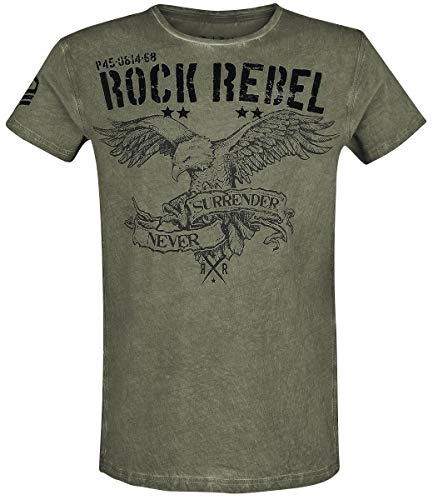 Rock Rebel by EMP Rebel Soul Hombre Camiseta Verde M, 100% algodón, Regular