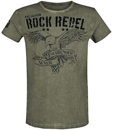 Rock Rebel by EMP Rebel Soul Hombre Camiseta Verde L, 100% algodón, Regular