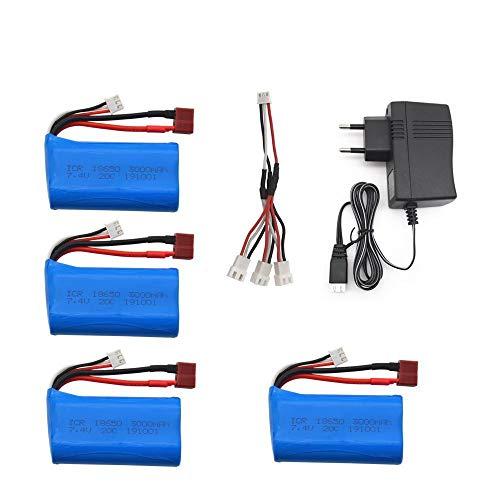 PRsellings Batería lipo de 7,4 V 3000 MAH 18650 para Q46 Wltoys 10428/12428/12423 Accesorios de repuestos de Coche RC para Wltoys 144001 A959-B A969-B EU4PCS