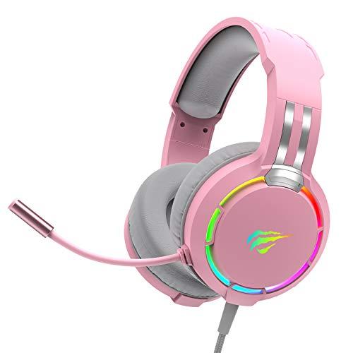 havit Headset für PS4, PS5, RGB Gaming Headset für PC, Xbox One, Laptop, Kopfhörer mit Mikrofon, mit Surround Sound 50MM Treiber und Mikrofon-Mute, Rosa (H2010d)