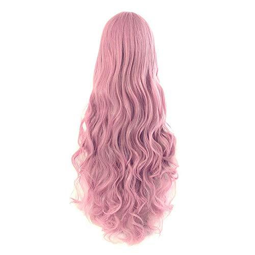 Loose Wave Cosplay Perücken für Frauen 29 Farben Schwarz Rosa Gold Rot Blau Party Synthetisches Haar Hitzebeständiges Haar, Rouge Pink, 32 Zoll
