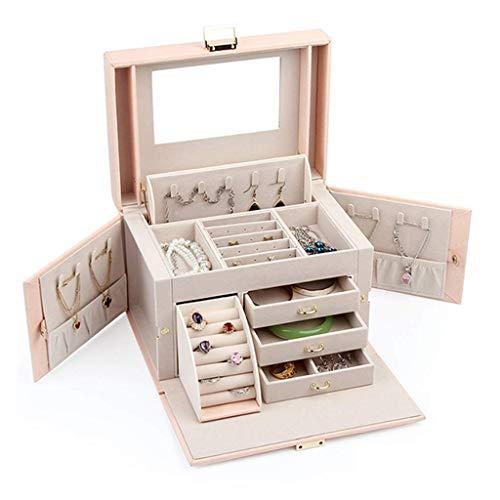 Große Schmuck Aufbewahrungsbox mit Spiegel, Ohrringe Armband Halskette Organizer, mehrschichtige Klassifizierung Aufbewahrung, PU Ledersamt, für Schlafzimmer Powder Room Travel