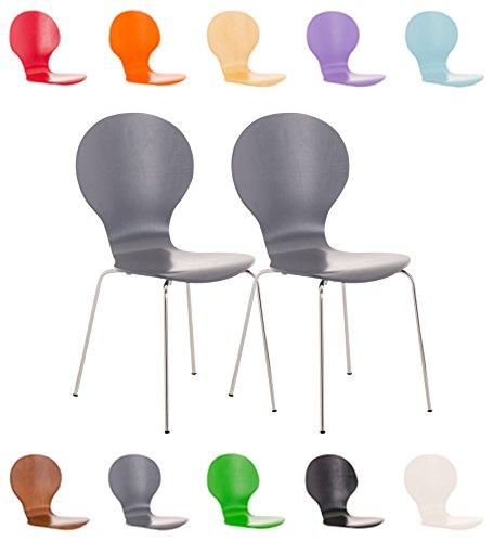 CLP 2X Stapelstuhl Diego ergonomisch geformter Konferenzstuhl mit Holzsitz und stabilem Metallgestell I 2X Platzsparender Stuhl mit pflegeleichter Sitzfläche Grau