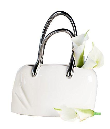 Casablanca Exklusive Deko Tischvase in Form Einer Handtasche aus Keramik weiß/Silber