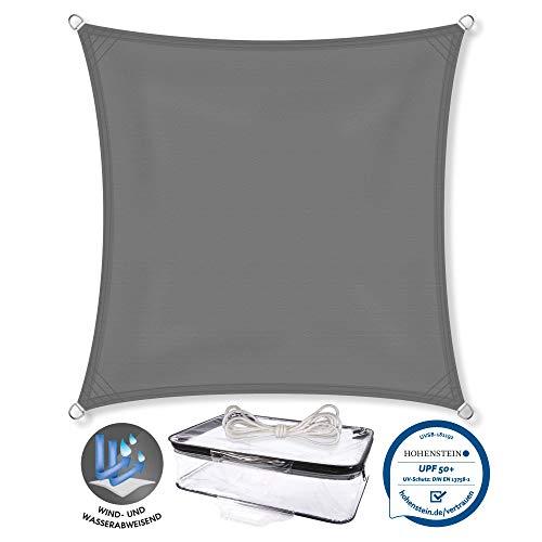 CelinaSun Sonnensegel PES Quadrat 5x5m anthrazit UPF 50+ Sonnenschutz inkl Befestigungsseile