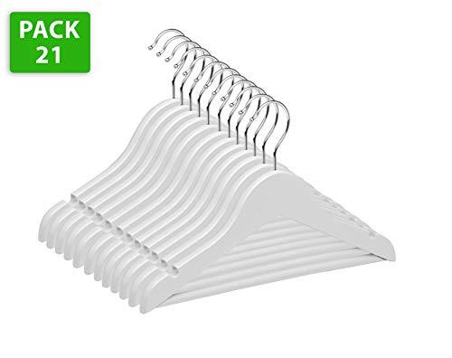 TODO HOGAR - Percha Infantil Color Blanco (Pack de 12 Y 21 Und) Hechas en Madera de Arce con Muescas Antideslizantes y Gancho Giratorio 360° de 30 cm