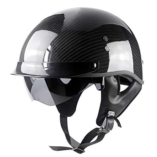 LUNANA Halbhelme Erwachsene mit Schutzbrille Motorrad-Halb Offener Helm mit Einstellbare Größe und Sonnenschutz Kollisionsschutz Design für Crossbike Motocrosshelme, ECE-Zertifizierung