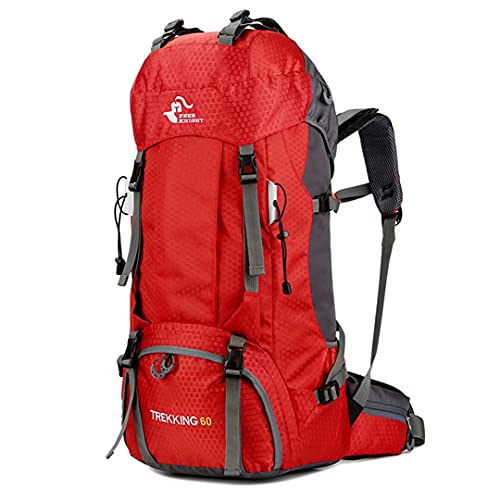 60L Camping Hiking Backpacks Outdoor Bag Tourist Backpacks Climbing Travelling With Rain Cover Red 60L 50-70L