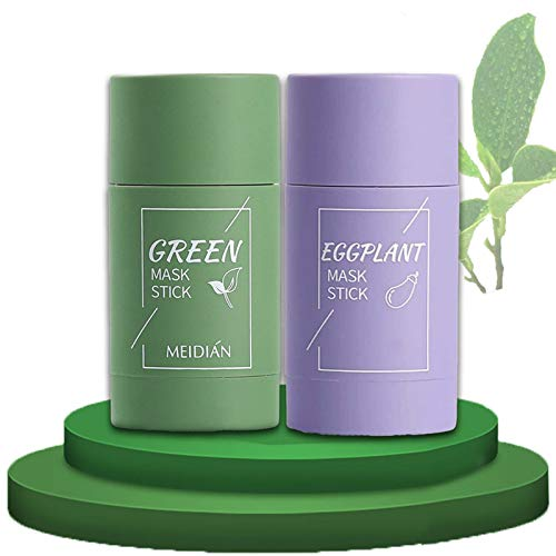 2 PCS Green Tea Purifying Clay Stick Mask, Oil Control Anti-Acne Eggplant Solid Fine, Clean Solid Mask Deep Cleansing Pores, Pore Free Reduce Blackheads Brighten Skin Facial Hydration
