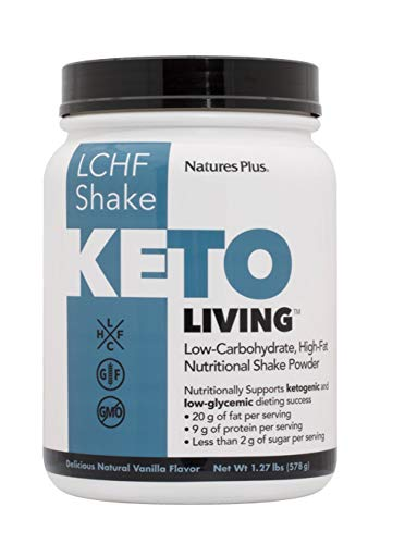 NaturesPlus Keto Living Vanilla Shake 675g Powder - Low Carb High Fat Shake - Provides 20g Fat, 9g Protein, Less Than 1g Sugar per Serving. Helps Maintain a Ketogenic Lifestyle - 15 Servings