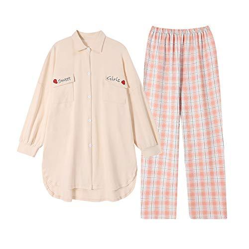 Pijama, traje de dormir de algodón puro para mujer, ropa de casa informal holgada, no se desvanece fácilmente, transpirable y liviano, camiseta y pantalón de manga larga, diseño estampado/A /