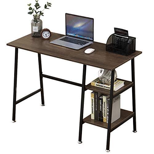 VECELO biurko komputerowe biuro stacja robocza stół do nauki do pisania w kształcie litery H z 2-poziomowymi półkami do przechowywania, ciemnobrązowy