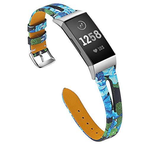 XIALEY Pulseras Compatible con Fitbit Charge 4 / Fitbit Charge 3, Delgadas Correas De Reloj De Cuero Fino Patrón De Flores Brazalete Banda De Repuesto Pulsera para Charge 3 / Charge 4,J