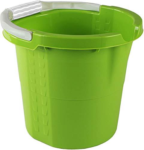 Rotho Daily Eimer 10l mit Softgriff, Ausguss und Skala, Kunststoff (PP) BPA-frei, grün, 10l (32,0 x 29,0 x 27,5 cm)
