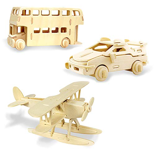 Georgie Porgy Woodcraft Construction Kits 3D Wooden Puzzle Jigsaw Wooden Model Kits for Kids Toy Age 5+ Pack of 3 (Seaplane Aircraft Ferrari car London Bus)