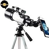 Telescopio para niños y adultos principiantes Telescopio para niños para principiantes de astronomía, telescopios de refractores de alcance de viaje, con adaptador de teléfono inteligente, mochila y f