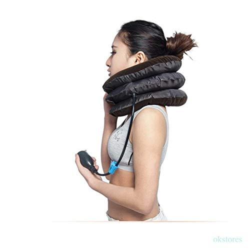 Dispositivo de tracción del Cuello Cervical de Aire Inflable del Cuello del Hombro Almohada para el Alivio del Dolor del Hombro para Relajarse el Cuello y el Hombro (Color : Dark Khaki)