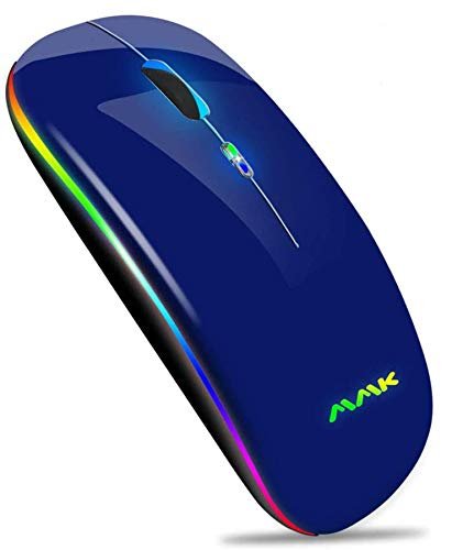 Wireless Bluetooth Mouse, Slim Mouse 2.4G Portable USB Optical Wireless Mice, LED Rechargeable Dual Mode(Bluetooth 5.0 and 2.4G Wireless) Mouse for Laptop, PC, Mac OS, Android, Windows(Deep Blue)