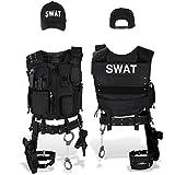 Black Snake SWAT FBI Police Security Kostüm inkl. Einsatzweste, Pistolenholster, Handschellen und Baseball Cap - XL/XXL - SWAT