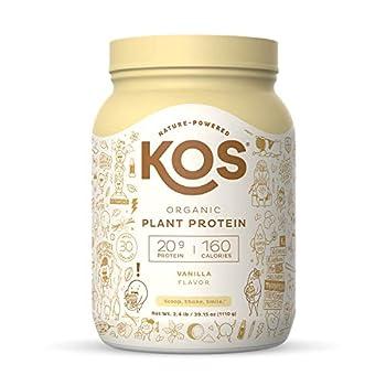 KOS Organic Plant Based Protein Powder Vanilla - Delicious Vegan Protein Powder - Keto Friendly Gluten Free Dairy Free and Soy Free - 2.4 Pounds 30 Servings