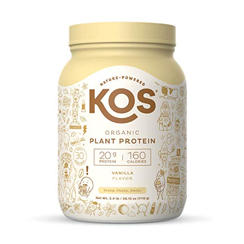 KOS Organic Plant Based Protein Powder - Vanilla Protein Powder - Gluten, Dairy & Soy Free Vegan Protein Powder - Ideal for Meal Replacement Shakes for Weight Loss - 2.4 Pounds, 30 Servings