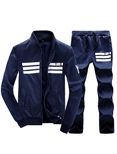 Lavnis Men's Casual Tracksuit Long Sleeve Running Jogging Athletic Sports Set Blue M