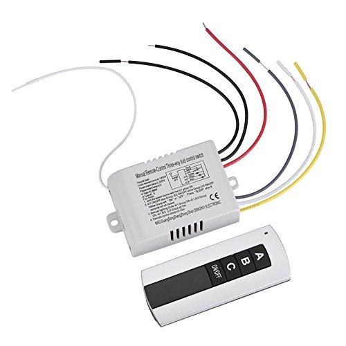 180-240V Interruptor de control remoto digital, 1Way / 2Way / 3Way ON/OFF Transmisor de receptor de interruptor de control remoto inalámbrico para electrodomésticos (3-Ways)