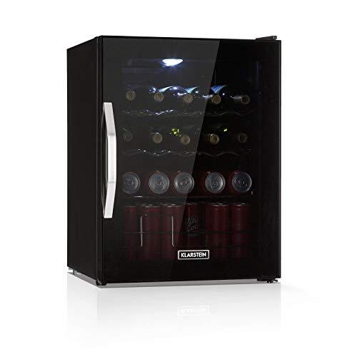 Klarstein Beersafe Onyx  Nevera de bebidas con puerta acristalada Mininevera Minibar Iluminación LED Baldas metálicas Acero inoxidable 42 dB 60 litros Negro