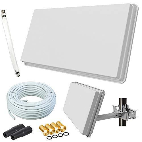 netshop 25 Set: Selfsat H30D1+ Flachantenne Single + 10m Kabel + Fensterhalterung + 1 Fensterdurchführung + 4 F-Stecker + 2 Wetterschutztüllen (Full HD 4K UHD Sat Anlage für 1 Teilnehmer)