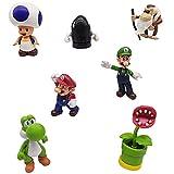 Super Mario Cake Topper, Juego de Figuras Set Super Mario Bros Toys Decoración de Pastel de Cumpleaños Caricatura Figura de Acción Regalo Suministros para Niños 7 Piezas