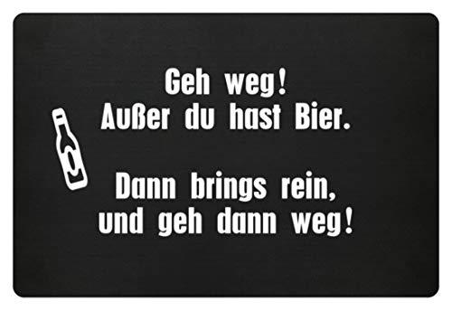 GetMerch GEH WEG ! AUSSER DU HAST BIER - Fußmatte -60x40cm-Schwarz