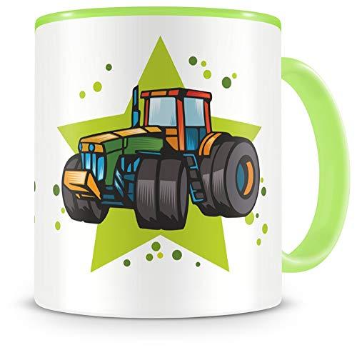 Samunshi® Kinder-Tasse mit Traktor als Motiv Trecker Bild Kaffeetasse Teetasse Becher Kakaotasse grün